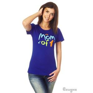 """Футболка женская """"Mom of 1"""", син."""