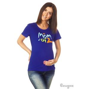 """Футболка женская """"Mom of 2"""",  син."""