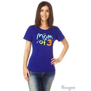 """Футболка женская """"Mom of 3"""", син."""