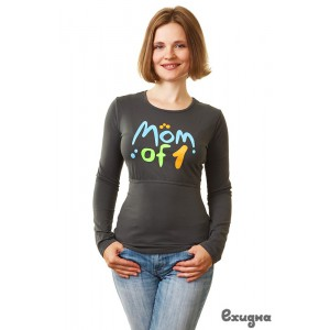 "Лонгслив женский  ""Mom of 1"",т.-сер., дл.рук., р. L"