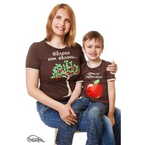 """Футболка женская """"Яблоко от яблони"""", коричн, р.M"""